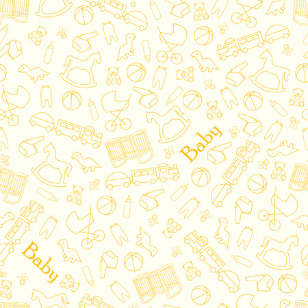romper: Baby background for baby. Yellow background for baby with toys and facilities for the newborn. Illustration