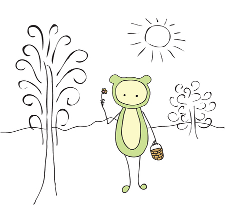 clearing: Cartoon a strange creature with a basket and a flower. Abstract funny cute creature in a clearing. Abstract tree, Bush, sun. Illustration