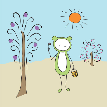cute creature: Cartoon a strange creature with a basket and a flower. Abstract funny cute creature in a clearing. Abstract tree, Bush, sun. Illustration