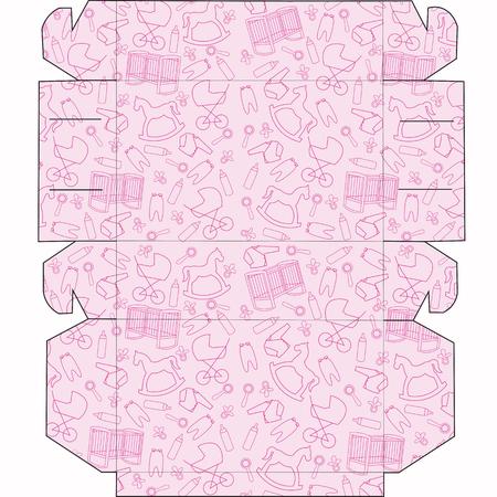 Das Layout der Boxen für Baby. Box für kleine Kuchen, Süßigkeiten, Geschenke, Überraschungen. Schneiden Sie den Kasten falten.