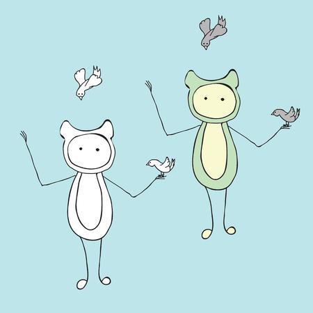 strange: Cartoon a strange creature and birds. Abstract funny cute creature.