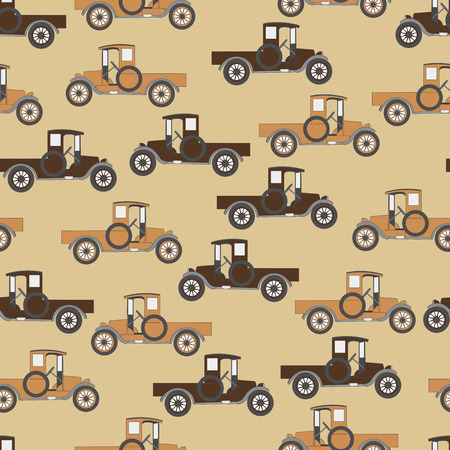car pattern: Background old cartoon retro car. Pattern Vector retro truck.