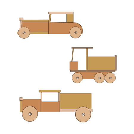 wooden toy: Wooden toy retro car. Toys for boys. Three cars with wheels.