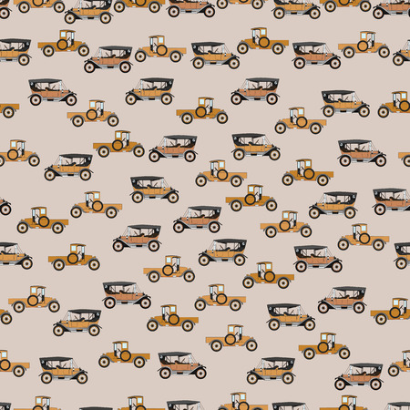 car pattern: Background old cartoon retro car. Pattern retro truck.