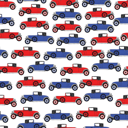 car pattern: Background blue and red cartoon retro car. Pattern Vector retro truck.