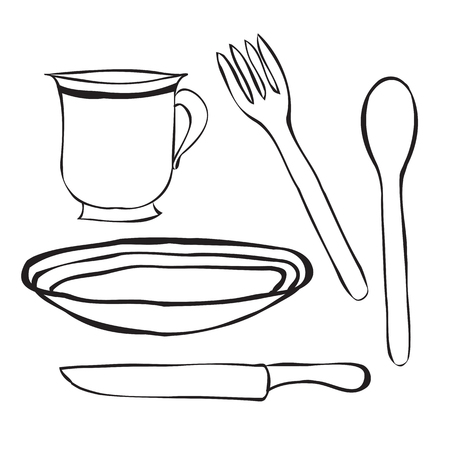dinner plate: Tableware cartoon . A simple spoon, a plate, fork, knife and Cup. Table setting contours.