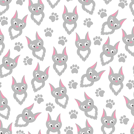 kitties: Background cartoon cats and paw prints. Childrens pattern with funny cute kitties.