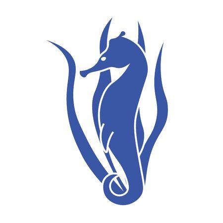 caballo de mar: Azul caballito de mar caballito de mar sobre un fondo de algas. contorno caballito de mar linda. la vida marina caballito de mar. Vectores
