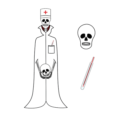 cap and gown: Skeleton doctor in medical gown and cap