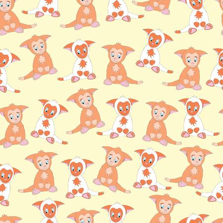 Background little cute animal kitten Illustration