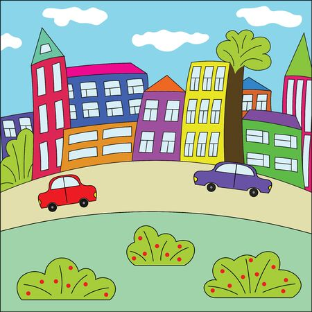 town abstract: Funny cartoon town. Bright colorful town. Abstract childrens town. The city with retro cars, houses and trees.