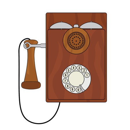 dialer: Old vintage cartoon styled wall phone with a rotary dialer.