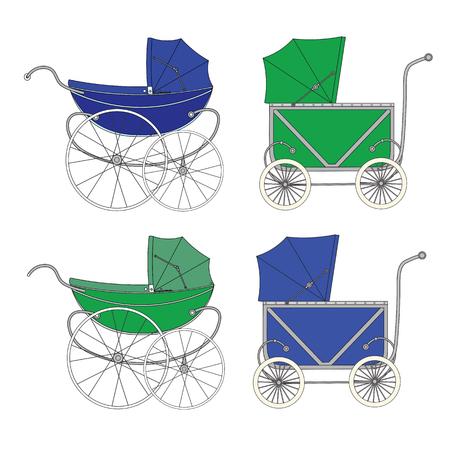 sidecar: Set vintage old authentic vintage stroller with big wheels for little newborn baby boy.