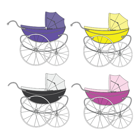 sidecar: Set color vintage old authentic vintage stroller with big wheels for little newborn baby.