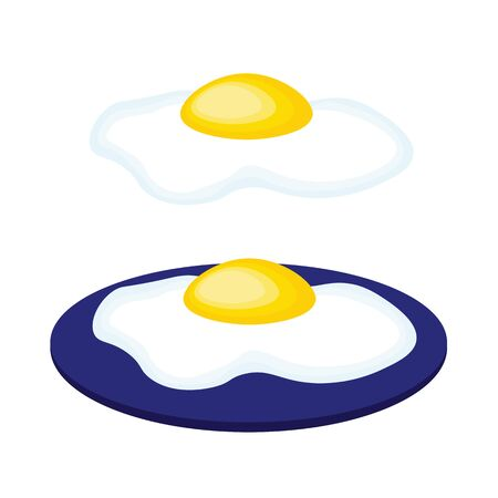 Cartoon scrambled eggs on white background and on the plate.