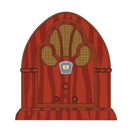 de dibujos animados de edad de cosecha de madera de radio retro.