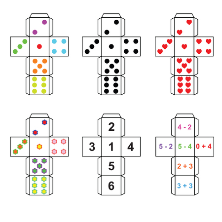 A set of six variants of dice paper template cut out, fold and glue Illustration