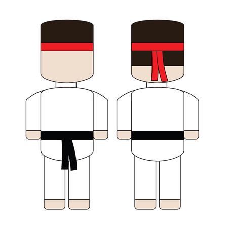 back belt: Cute simple cartoon karate with a black belt. The front and the back.