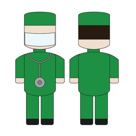 Simple cartoon doctor with a stethoscope and a bandage on his face