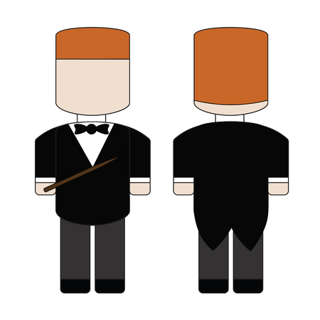 conductors: Simple cartoon conductor in tails with conductors baton. Illustration