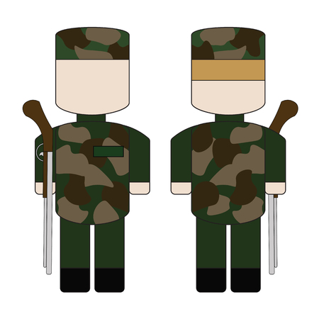 honour guard: Simple cartoon military with guns in camouflage.