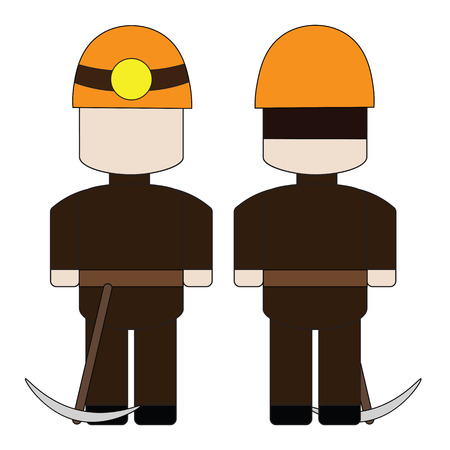 pitman: Simple cartoon miner in a helmet with a pick.