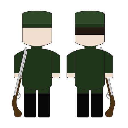 Simple cartoon hunter in a green uniform with a gun. Illustration