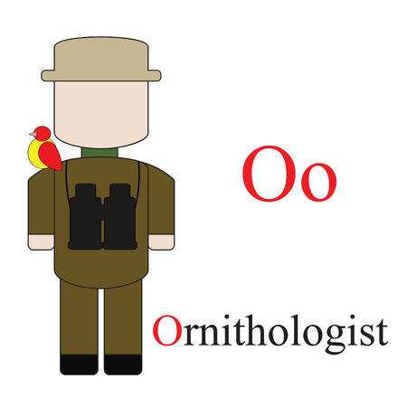 ornithologist: Letter O alphabet of professions. Ornithologist. ABC education cards for kids.