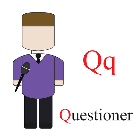 questioner: Letter Q alphabet of professions. Questioner. ABC education cards for kids.