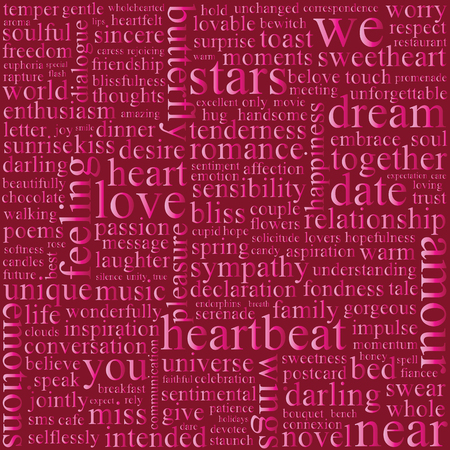 concentrate: Background with words on the topic of love.