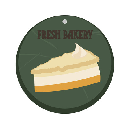 cream pie: Retro cartoon vintage piece of the pie cheesecake with cream.