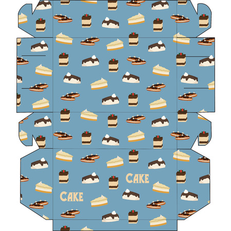 craft product: Box with retro cakes. Packaging for chocolates, muffins, cupcakes, cookies or gift. Illustration