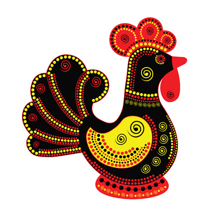 colorfull: Cartoon stylized rooster Chinese style with colorfull ornament. Symbol 2017.