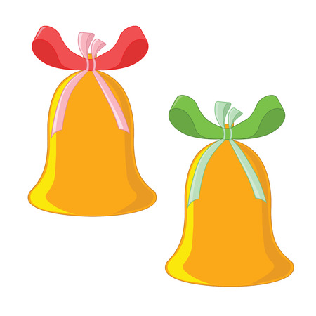 Two Christmas bells with green and red ribbons. Illustration