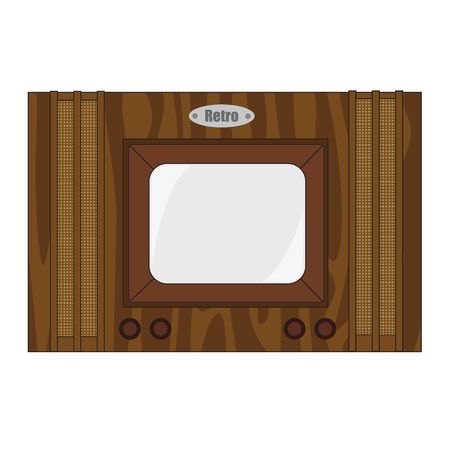 outmoded: Simple wooden cartoon very old retro TV. Illustration