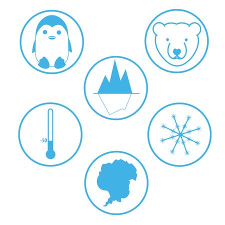 antarctica: Set of flat icons South pole Antarctica.