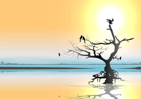 Evening with golden sky, birds and sunset atmosphere. Illustration