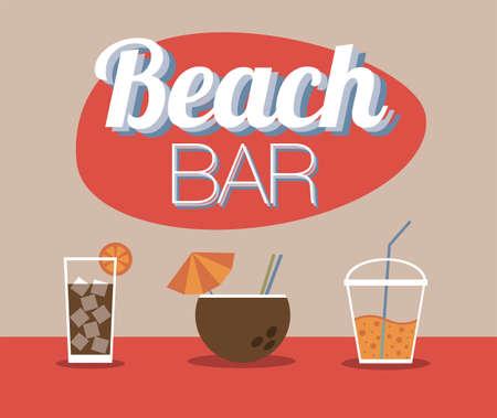 Playa Bar y bebidas Ilustración de vector