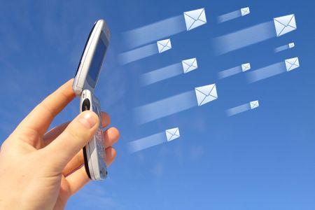 sending: el env�o de mensajes  Foto de archivo
