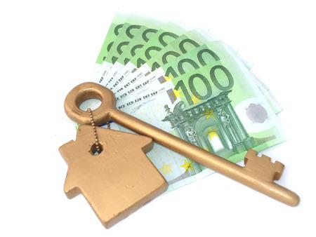 Golden key and money photo