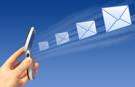 Email being sent by a wireless Stock Photo - 1676455