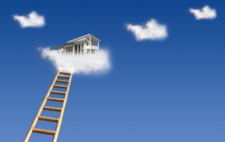 House in clouds Stock Photo