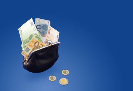 Euro money in purse photo