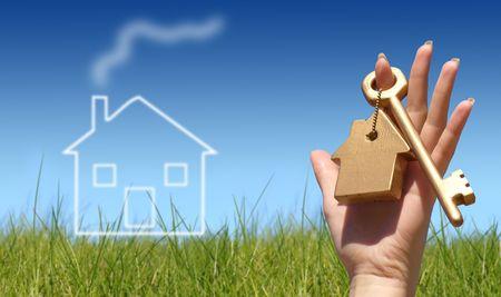 home key: Nueva Casa propietario concepto  Foto de archivo