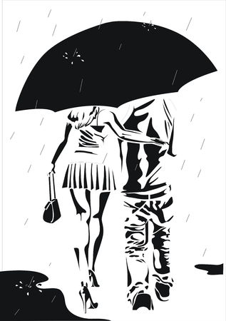 In the rain. Couple under big umbrella. Иллюстрация