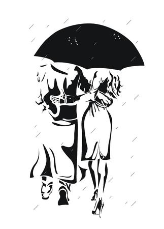 In the rain. Couple under big umbrella. Stock Vector - 2071683