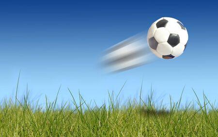 Soccer balls flying photo