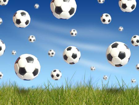 winger: Soccer balls falling Stock Photo