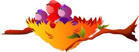 fledgeling: Nest with  birds