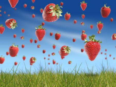 Strawberry rain Stock Photo - 3063551
